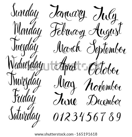 Days of the week, months, and numbers - stock vector