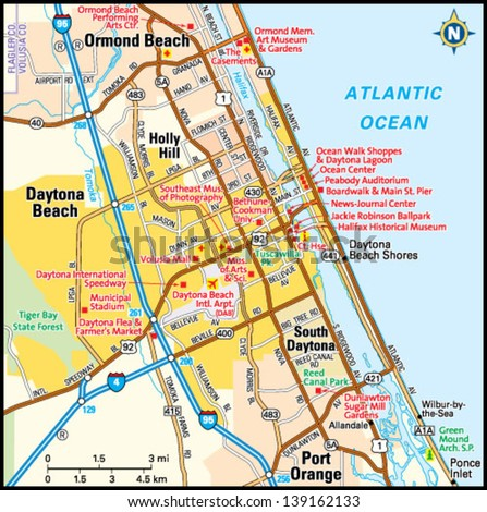 Daytona Beach Florida Area Map Stock Vector 139162133 Shutterstock