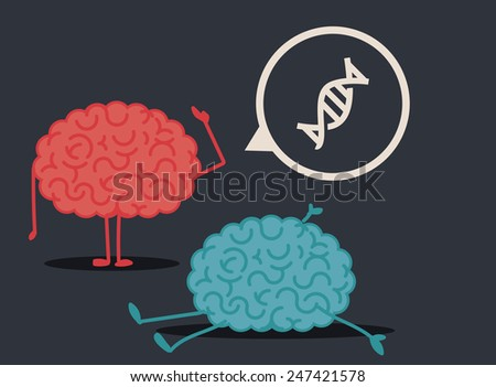 Dead brain by genetic disease: murder investigation conclusions - stock vector