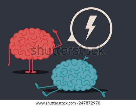 Dead brain: murder investigation conclusions - stock vector