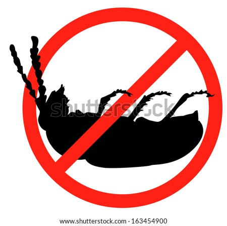 Dead bug vector silhouette isolated. Insect repellent emblem - stock vector