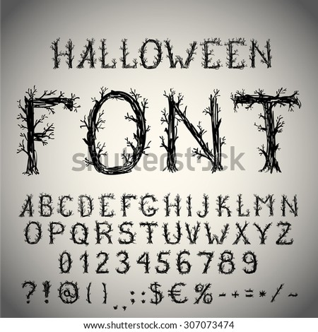 Dead forest style hand drawn font, pencil stroke alphabet, grunge style with tree-like letters. Vector EPS10 - stock vector