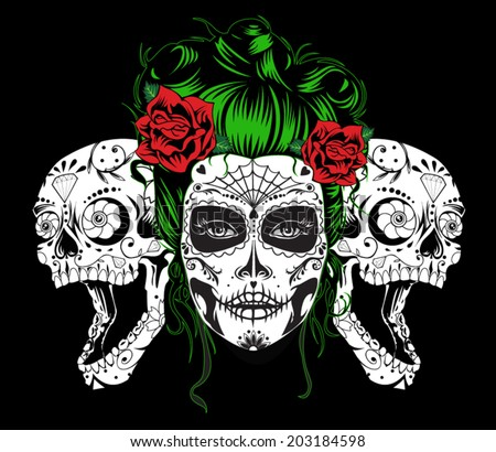 Dead girl with two sugar skulls. - stock vector
