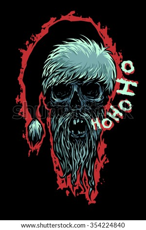 Dead Moroz says Ho-Ho-Ho! Bearded skull dressed like Santa Claus. Horror style vector illustration.