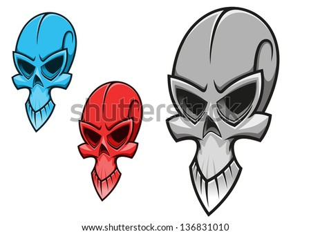 Dead scary skull for tattoo or halloween holiday design. Jpeg (bitmap) version also available in gallery - stock vector