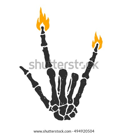 Dead skeleton hand burning rock sign isolated vector illustration
