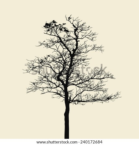 dead tree isolated on vintage white background - stock vector