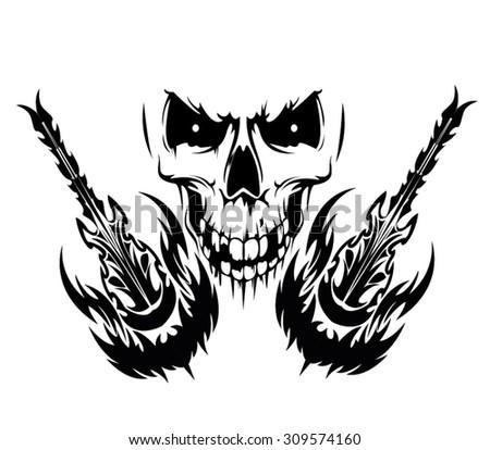 deadly guitar - stock vector