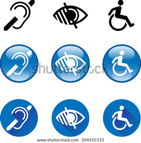 Deaf Blind Disabled Icons 1. Vector graphic images of the Deaf, Blind and Disabled symbols in glossy button and flat icon sets. - stock vector