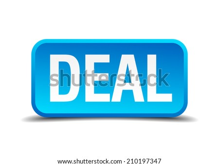 deal blue 3d realistic square isolated button