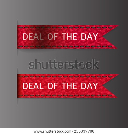 Deal of the day ribbon bookmark tag element for sales promotion. Vector illustration - stock vector - stock vector
