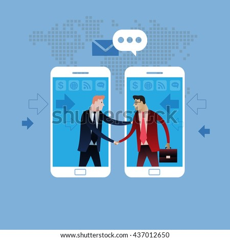 Deal on Mobile phone. Handshake of two business people with cell phone background. On line deal. Business concept illustration vector clip art design - stock vector