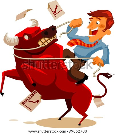 Deal with Bullish Market. Vector Illustration - stock vector