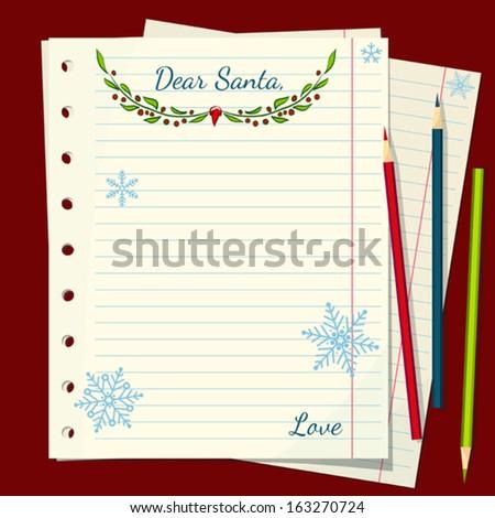 Dear Santa Christmas letter - vector illustration - stock vector