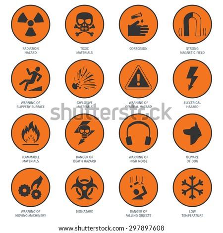 Death and dangerous hazard black on orange icons set isolated vector illustration - stock vector
