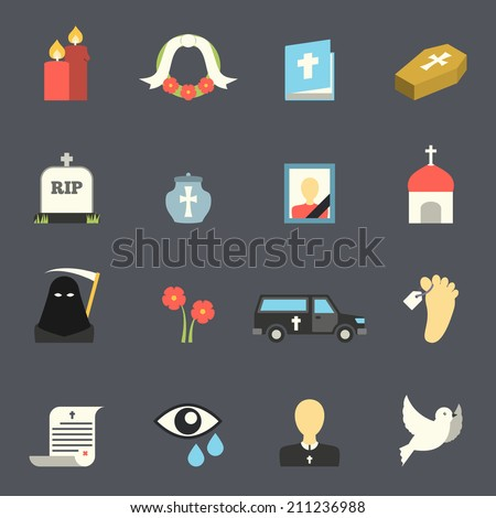 Death and mourning for deceased ritual church funeral ceremony tombstone candles flat icons set vector isolated illustration - stock vector
