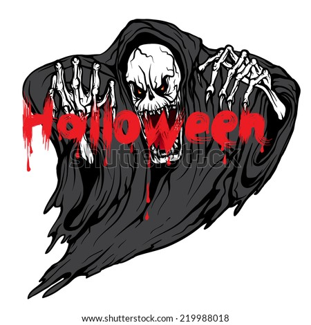 death monster skeleton Halloween symbol isolated on white background