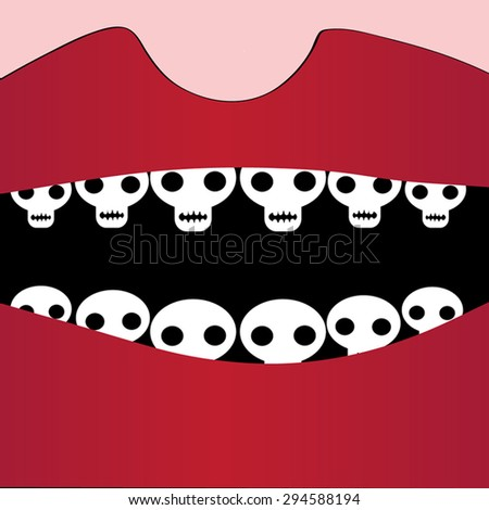 Death open mouth. Red lips and white human sculls as teeth. Digital art. Death, War, Horror concept. As Day Of The Dead Skull poster, cover, t-shirt print. Voodoo illustration. Vector Eps 8.