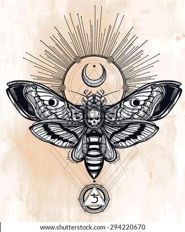 Moth stock vectors vector clip art shutterstock for Thin line tattoo artists near me