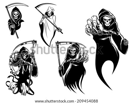 Death skeleton characters with and without scythe,  suitable for Halloween, logo, religion and tattoo design - stock vector
