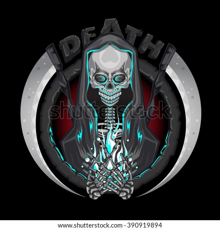 Death skeleton Grim Reaper characters with scythe Emblem Logo Holding Human Soul  - stock vector