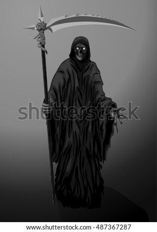 Death skeleton grim Reaper scytheman with scythe, suitable for Halloween celebration, logo, sign. Vector closeup black and white beautiful hand-drawn vertical illustration on dark background.