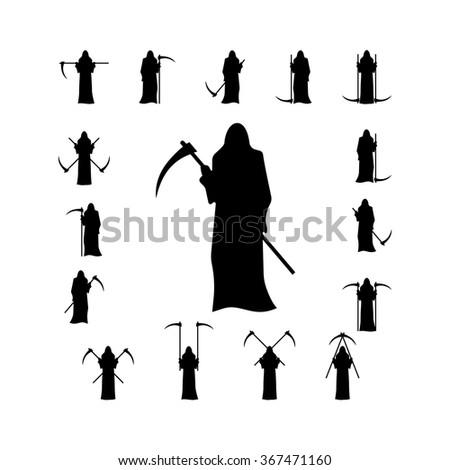 Death with a scythe silhouette isolated on white background. Death with a scythe, death silhouette with a scythe, death hoodie, hooded death, death in a raincoat - stock vector