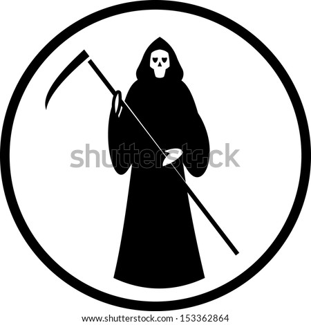 Death with scytheman vector icon  - stock vector