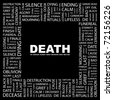 DEATH. Word collage on black background. Vector illustration. Illustration with different association terms. - stock vector