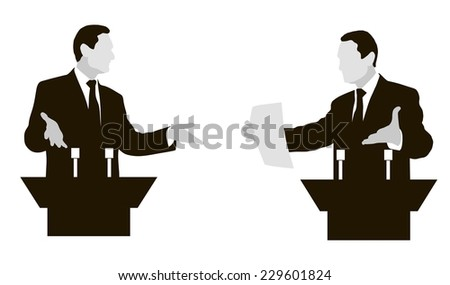 Debate two speakers. The controversy, disputes, negotiations. black and white, gray Vector. icon. - stock vector