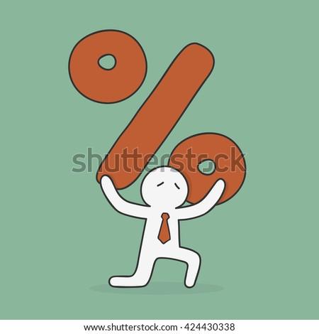 Debt. Businessman Carrying Huge Percent Sign. Hand Drawn Doodle Business Illustration. - stock vector