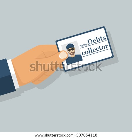 Debt collector. Salesman pressure. Man tax agent, bouncer, holding an identity card in hand. Vector illustration flat design.