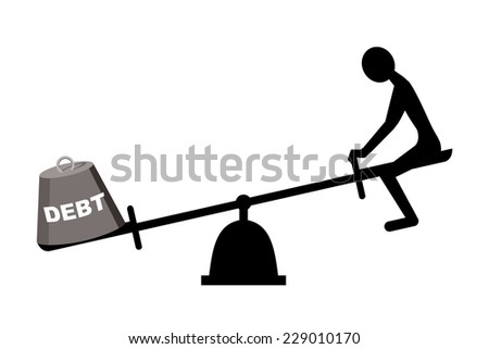 debt concept, seesaw with man and debt weight - stock vector