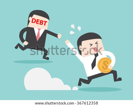 DEBT hunting grabbing businessman with money. Flat design for business financial marketing banking advertisement office people property in minimal concept cartoon illustration. - stock vector