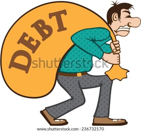 Debt pressure / load struggle - stock vector