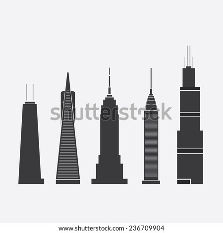 Dec 09, 2014: Set of Abstract Vector Illustrations of Five Famous Skyscrapers: John Hancock Tower, Transamerica Pyramid, Empire State Building, Chrysler Building, Willis Tower - For Editorial Use Only - stock vector