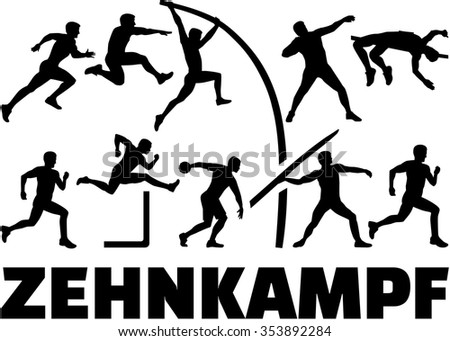 Decathlon silhouette of athletics german - stock vector
