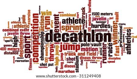 Decathlon word cloud concept. Vector illustration - stock vector