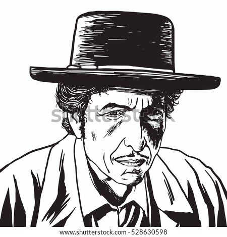 December 4, 2016. Bob Dylan Hand Drawn Drawing Portrait, Caricature Vector Illustration