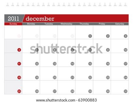 December 2011 Calendar - stock vector
