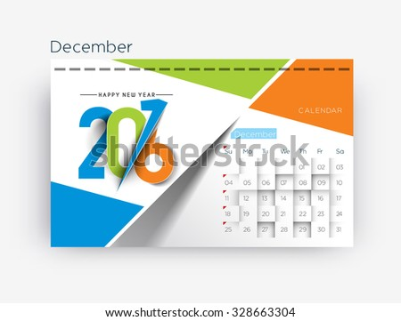 December 2016 calendar design. - stock vector
