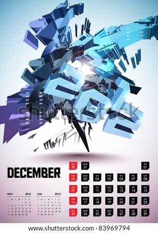 December - Calendar Design 2012 - stock vector