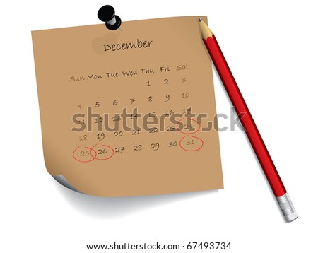 December calendar on notepaper - stock vector