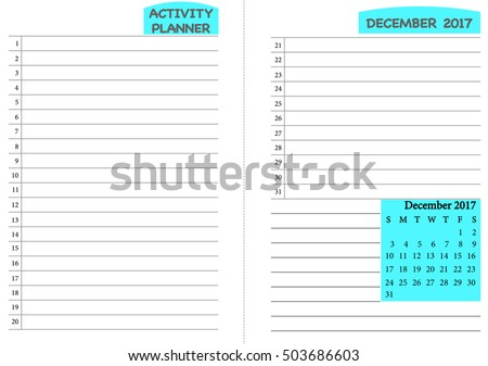 December  Calendar Template Monthly Planner Stock Vector