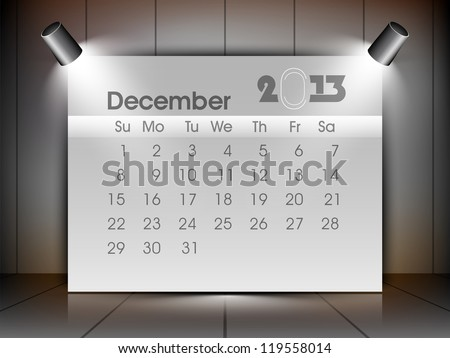 December 2013 calender. EPS 10. - stock vector