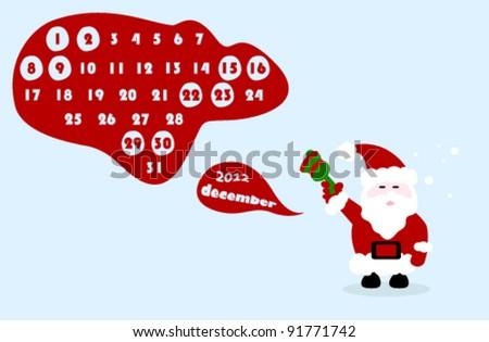 december 2012 colorful calendar illustration with santa claus - stock vector