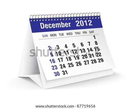 december 2012 desk calendar - stock vector