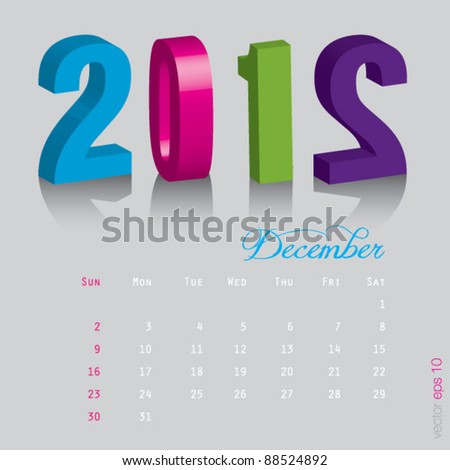 December New year 2012. Calendar 3d vector on gray background