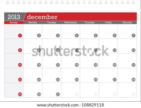 december 2013-planning calendar - stock vector