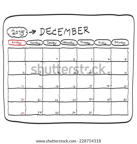 december 2015 planning calendar vector, doodles hand drawn. - stock vector